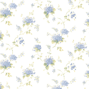 Hortensia Trail Navy and Green Wallpaper