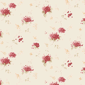 Hortensia Trail Red and Cream Wallpaper