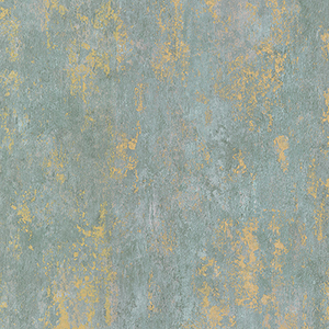 Regal Texture Metallic Gold and Aqua Blue Wallpaper