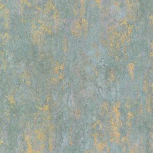Regal Texture Metallic Gold and Aqua Blue Wallpaper