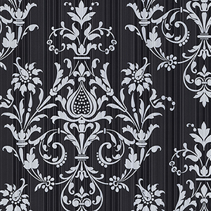 Constantine Black and Metallic Silver Wallpaper