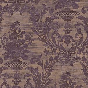 Sari Damask Metallic Gold and Purple Wallpaper