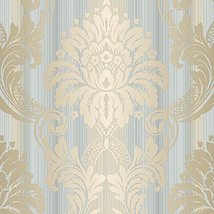 String Damask Blue, Beige and Metallic Gold Wallpaper