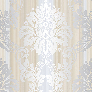 String Damask Cream, Beige and Metallic Silver Wallpaper