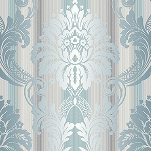 String Damask Teal, Grey and Silver Wallpaper
