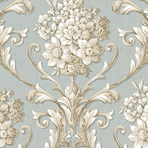 Floral Damask Blue, Beige and Metallic Gold Wallpaper