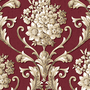 Floral Damask Red and Metallic Gold Wallpaper
