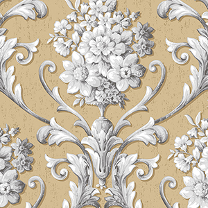 Floral Damask Metallic Gold and Grey Wallpaper