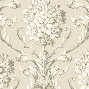 Floral Damask Cream and Grey Wallpaper