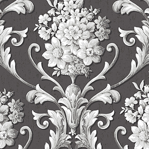 Floral Damask Black and Metallic Silver Wallpaper