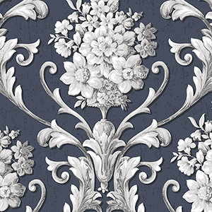 Floral Damask Navy and Metallic Silver Wallpaper