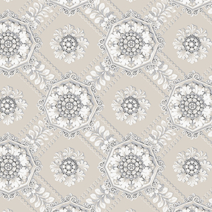 Medallion Beige and Metallic Silver Wallpaper