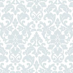Velvet Damask Aqua and White Wallpaper