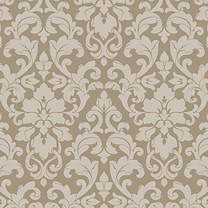 Velvet Damask Taupe, Brown and Metallic Silver Wallpaper