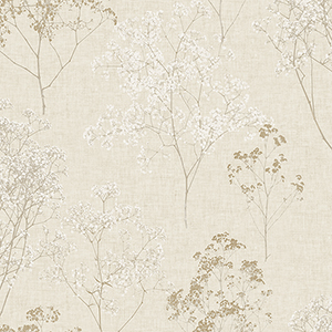 Queen Anne Lace Beige and Wheat Wallpaper
