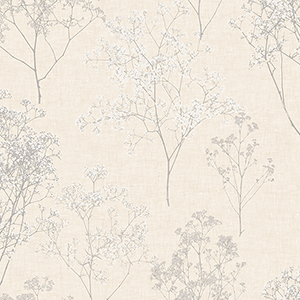 Queen Anne Lace Grey and Beige Wallpaper