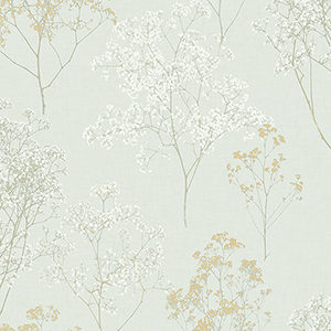Queen Anne Lace Green, Ochre and Orange Wallpaper