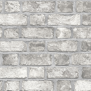 Farmhouse Brick Grey Wallpaper
