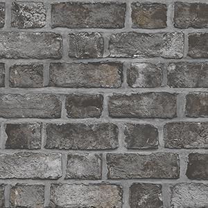 Farmhouse Brick Black and Charcoal Wallpaper