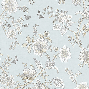 Butterfly Toile Light Blue Wallpaper