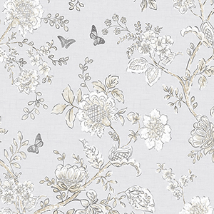 Butterfly Toile Grey Wallpaper