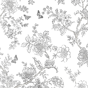 Butterfly Toile Charcoal Wallpaper