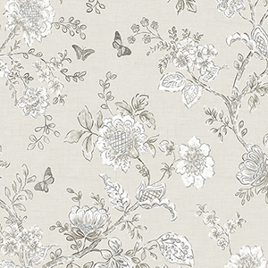Butterfly Toile Taupe Wallpaper