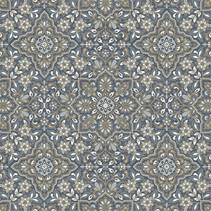 Blue and Metallic Gold Floral Tile Wallpaper