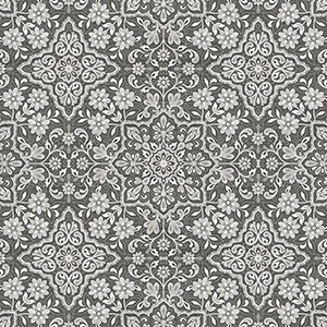 Black, Grey and Metallic Silver Floral Tile Wallpaper