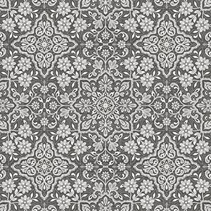 Black, Grey and Metallic Silver Floral Tile Wallpaper