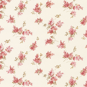 Lilac Sprigs Pink, Red and Cream Wallpaper