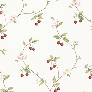 Cherry Trail Red and Green Wallpaper