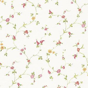 Multi Floral Trail Yellow, Red and Green Wallpaper