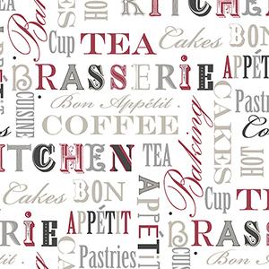 Kitchen Script Red, Beige and Silver Wallpaper