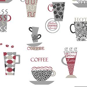 Coffee Time Red, Metallic Silver and Tan Wallpaper