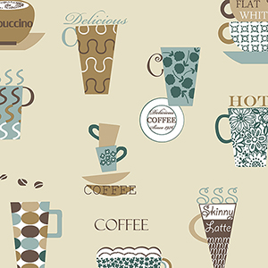 Coffee Time Brown, Teal and Beige Wallpaper
