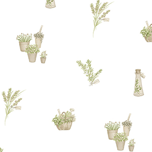 Fresh Herbs Beige and Green Wallpaper