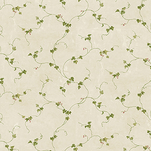 Small Berries Trail Tan, Green and Red Wallpaper