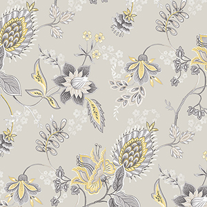 Jacobean Floral Grey and Yellow Wallpaper