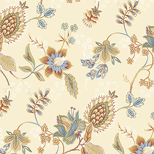 Jacobean Floral Blue, Ochre, Red and Green Wallpaper