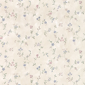Seed Trail Light Taupe, Blue and Pink Floral Wallpaper