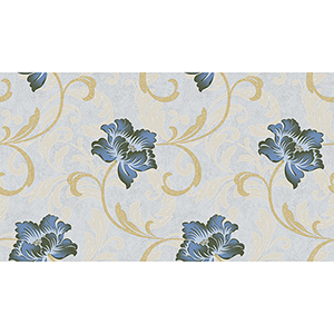 Grey, Blue and Metallic Gold Floral Wallpaper