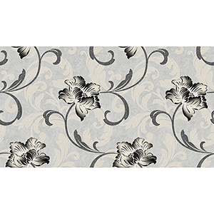 Grey, Black and Metallic Gold Floral Wallpaper