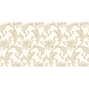 Cream and Metallic Gold Floral Scroll Wallpaper