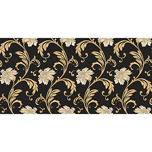 Black, Metallic Gold and Cream Floral Scroll Wallpaper
