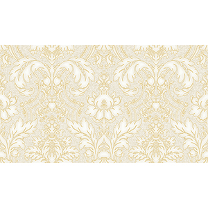 Beige and Metallic Gold Damask Wallpaper