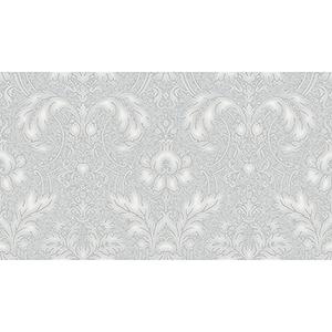 Metallic Silver and Grey Damask Wallpaper