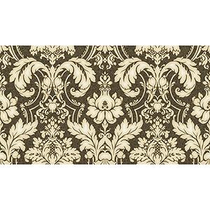 Black, Metallic Gold and Cream Damask Wallpaper