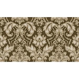 Metallic Gold and Brown Damask Wallpaper