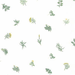 Herb Sidewall Yellow and Green Wallpaper